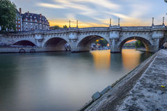 Pont Neuf at sunset in Paris, France Royalty Free Stock Photography