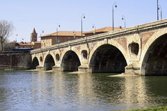 Pont-Neuf, Toulouse. Old bridge over the River Garonne in Toulouse Stock Photo