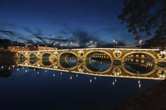 Pont Neuf in Toulouse. Seen at night. Toulouse, Occitanie, France Stock Photo