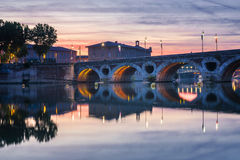 Pont Neuf in Toulouse at sunset Stock Photos
