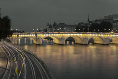 Pont Neuf und die Seine, Paris Stockbild