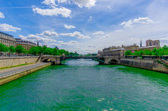 Pont Notre Dame, crossing the Seine river in Paris Royalty Free Stock Photo