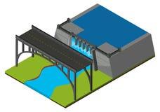 Pont par le barrage illustration de vecteur