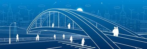 Pont piétonnier au-dessus de la route Les gens marchant sur la rue de ville Ville moderne de nuit Illustration d'infrastructure,  illustration stock