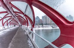Pont piétonnier, Calgary, Alberta photographie stock libre de droits