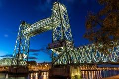 Pont Rotterdam en train Images libres de droits