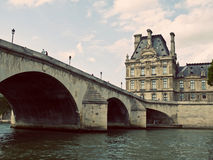 Pont Royal and Louvre Museum Stock Photography