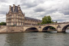 Pont Royal over Seine in Paris with view at the Louvre Stock Photography