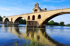 Pont Saint-Benezet bridge in Avignon, France. A view of the Pont Saint-Benezet or Pont d'Avignon bridge, in Avignon, France, over the  Rhone River Stock Photography