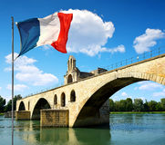 Pont Saint-Benezet with French flag in Avignon Stock Image