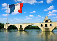 Pont Saint-Benezet with French flag in Avignon Stock Photo