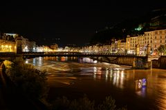Pont Saint Laurent in Grenoble stockbild