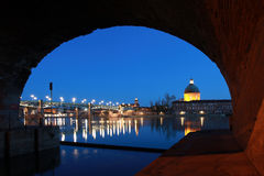 Pont Saint-Pierre in Toulouse. The Pont Saint-Pierre in Toulouse/France goes over the Garonne river stock photography