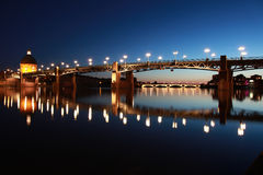 Pont Saint-Pierre in Toulouse. The Pont Saint-Pierre in Toulouse/France goes over the Garonne river stock image