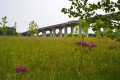 Pont sur 80 d'un état à un autre près de Cleveland, Ohio photo libre de droits