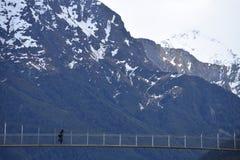 Pont suspendu dans les montagnes de l'île du sud de la Nouvelle Zélande photographie stock libre de droits