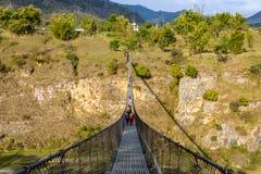 Pont suspendu dans Pokhara, Népal Images libres de droits