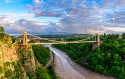 Pont suspendu de Bristol au coucher du soleil Image libre de droits