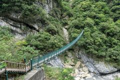 Pont suspendu de Zhuilu dans Taroko photographie stock libre de droits