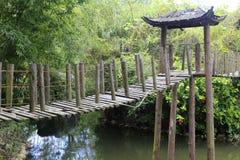 Pont suspendu en bois Photos stock