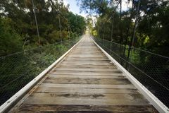 Pont suspendu, Gresford, NSW, Australie Photo stock