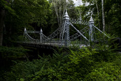Pont suspendu historique - parc de crique de moulin, Youngstown, Ohio images stock