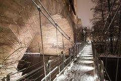 Pont suspendu Kettensteg, Nuremberg de fer Photographie stock libre de droits