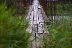 Pont suspendu par piéton image libre de droits