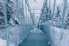 Pont suspendu piétonnier en Suisse Image libre de droits