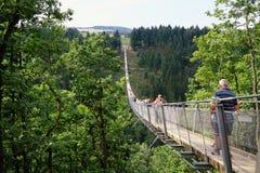 Pont suspendu simple Geierlay dans Moersdorf au moun de Hunsrueck image stock