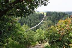 Pont suspendu simple Geierlay dans Moersdorf au moun de Hunsrueck photographie stock