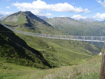 Pont suspendu, Stubnerkogel, mauvais Gastein, Autriche Photos stock