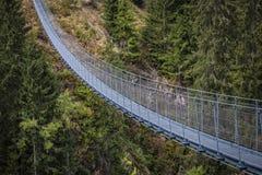Pont suspendu sur des alpes image libre de droits