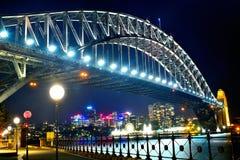 Pont Sydney de port de nuit Photographie stock
