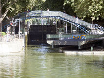 Pont Tournant at Canal Saint-Martin, Paris Royalty Free Stock Photos
