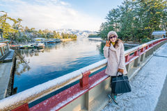Pont tournant d'Amanohashidate de matin en hiver Photo libre de droits