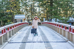 Pont tournant d'Amanohashidate de matin en hiver Images libres de droits
