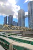 Pont unique de pied au-dessus des navettes, Toronto, Ontario, Canada Images stock