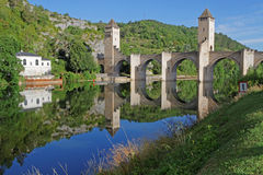 Pont Valentré à Cahors Images libres de droits