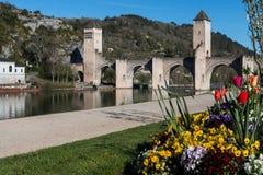 Pont Valentré, Cahors, departamento de la porción Foto de archivo