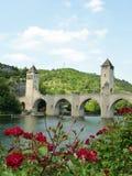 Pont Valentré dans la ville de Cahors, FRANCE Images libres de droits