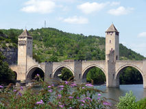 Pont Valentré in the city of Cahors, FRANCE Royalty Free Stock Image