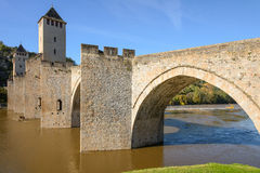 Pont Valentre, afortified most w Cahors Obraz Stock