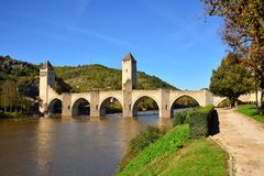 Pont Valentre, an ancient fortified bridge in Cahors Royalty Free Stock Image