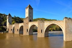 Pont Valentre, an ancient fortified bridge in Cahors Royalty Free Stock Images