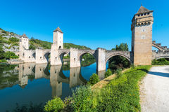 Pont Valentre in Cahors, France. Royalty Free Stock Images