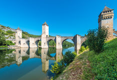 Pont Valentre in Cahors, France. Pont Valentre, a 14th-century six-span fortified stone arch bridge crossing the Lot River to the west of Cahors in Lot, Midi Stock Photo