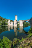 Pont Valentre in Cahors, France. Pont Valentre, a 14th-century six-span fortified stone arch bridge crossing the Lot River to the west of Cahors in Lot, Midi Royalty Free Stock Photo