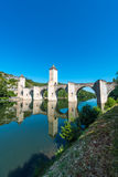 Pont Valentre in Cahors, France. Pont Valentre, a 14th-century six-span fortified stone arch bridge crossing the Lot River to the west of Cahors in Lot, Midi Stock Photos