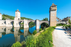 Pont Valentre in Cahors, France. Pont Valentre, a 14th-century six-span fortified stone arch bridge crossing the Lot River to the west of Cahors in Lot, Midi Stock Image